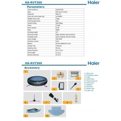 Haier Robot Vacuum Cleaner (HA-RVT360) - 1 Year Warranty