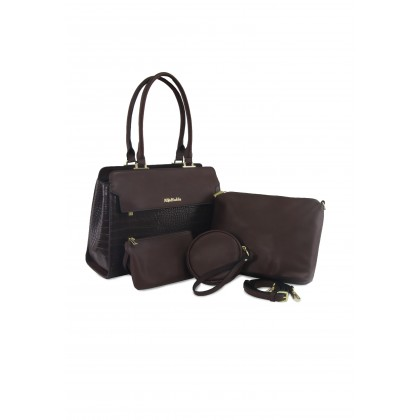 Alfio Raldo Boston Croc Print 3 in 1 Handbag Set